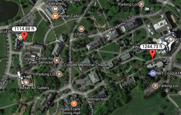 Google Map showing elevation change on campus hill from 1114.88 feet to 1244.73 feet