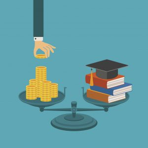 Illustration of scales balancing books and a graduation cap with a stack of money