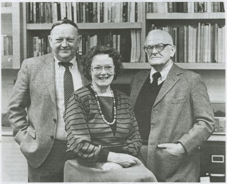 Black and white photo of Wilbur T. Albrecht II and colleagues