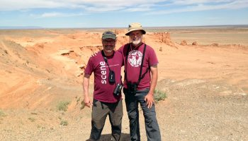 Gary Bletsch '80 and Jim McCoy '82 at Mongolia's Flaming Cliffs