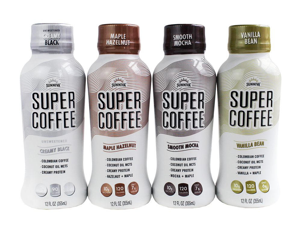 four bottles of super coffee