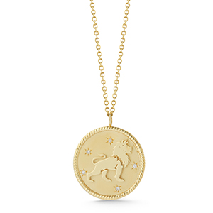Golden medallion necklace with an astrological leo
