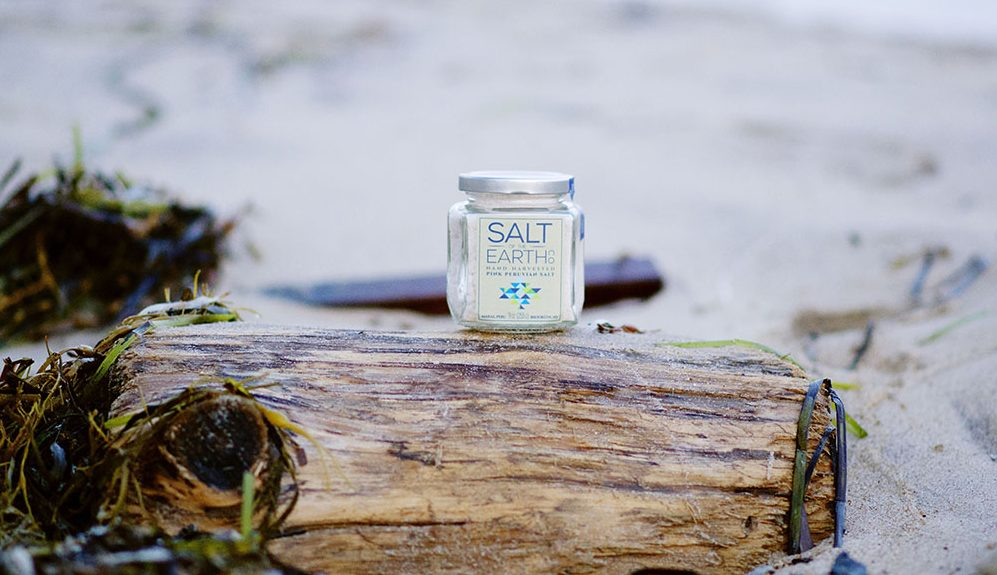 Salt of the Earth on a seaweed covered piece of driftwood.