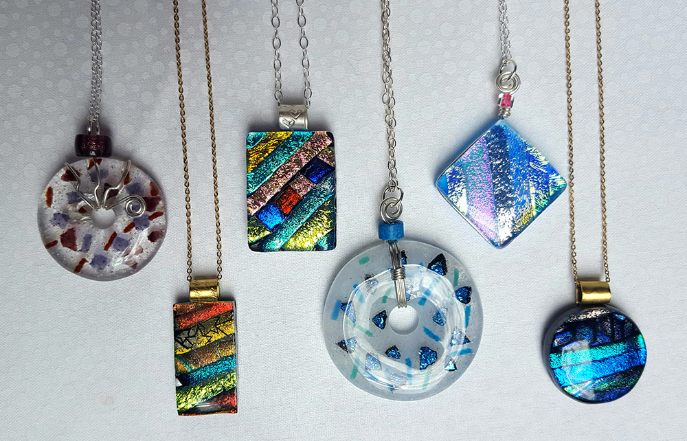 Shiny objects glass pendants