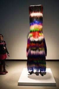 Colorful soundsuit in gallery