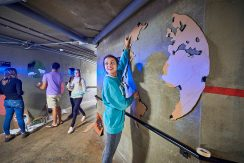 Student paints murals in underground tunnel