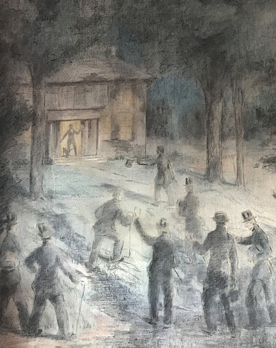 Historic painting of the 13 men arriving at Olmstead House