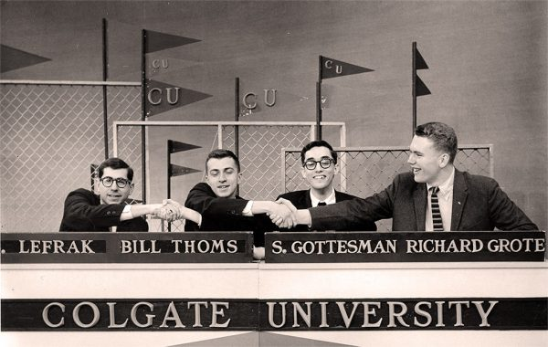 1950s Colgate quiz bowl team shakes hands