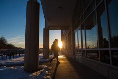 Sunset at Case-Geyer library