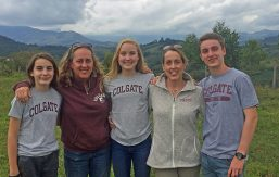 Marnie Concha '87 and family on coffee farm in Colombia