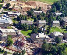 Aerial campus shot showing Benton Hall construction