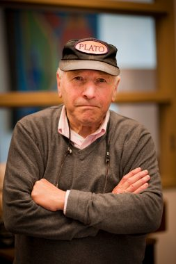 "Jerry Balmuth wearing his ""Plato"" hat"