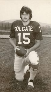 Brion Applegate '76 in a Colgate #15 Jersey as a student