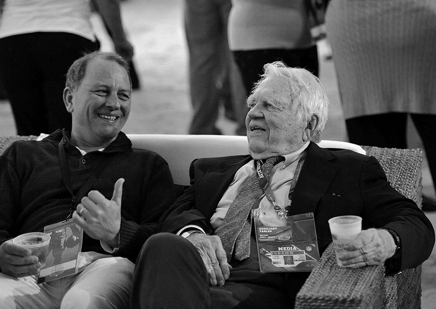 Jeff Fager CBS News and Andy Rooney CBS 60 Minutes at the WHO sales 2010 Super Bowl Party.