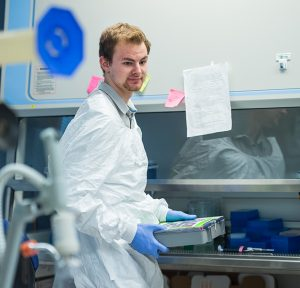 A.J. Ward '18 works on HIV research.