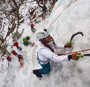 Colgate student ice climbing