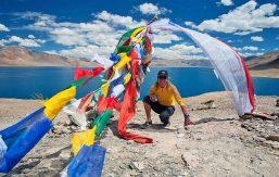 Kim Bannister on desert plateau