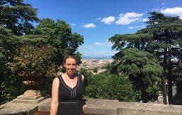 Rachel Mascetta '03 in front of scenic view of Rome
