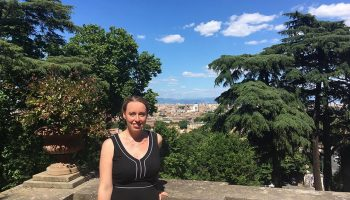 Rachel Mascetta '03 in front of scenic view of Rome