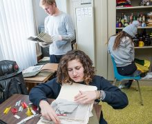 Students examine and organize documents