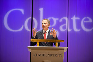 Tony Blair speaks in Colgate's Sanford Field House