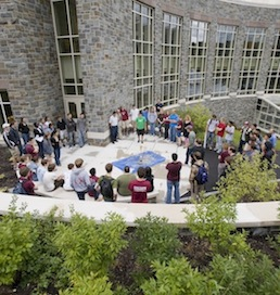 Students gather at the Ho Science Center which was built through the success of the Passion for the Climb campaign.