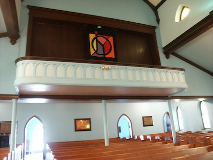 The upper balcony of the Tabernacle Baptist Church