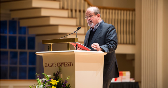 Author Salman Rushdie speaks Thursday evening at Memorial Chapel. (Photo by Andy Daddio)
