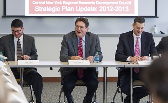 From Left:  Madison County IDA Director Kipp Hicks, Colgate President Jeffrey Herbst, and Rob Simpson `97, CenterState CEO president.