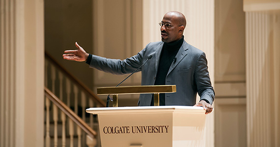 Van Jones,  president and cofounder of Rebuild the Dream, speaks at Memorial Chapel. (Photo by