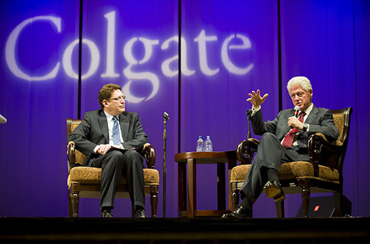 """Former (42nd) President Of The United States, William Jefferson """"Bill"""" Clinton, during his visit to Colgate University in October 2010 as part of the Global Leaders Lecture Series."""