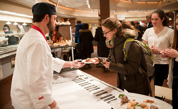 In the music-themed Chefs' Fare competition hosted by Colgate, Ithaca College served up French food to accompany their classical music theme. Photo by Janna Minehart '13
