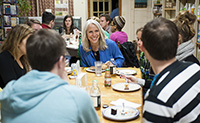 Writer and activist Robyn Ochs, who was the keynote speaker for QueerFest 2013, dines with students.
