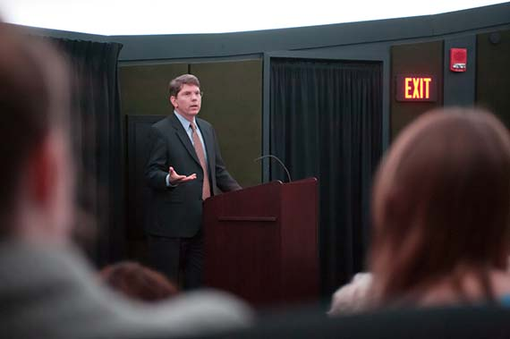 Douglas Hicks spoke about religious and social change as part of the Great Minds lecture series.