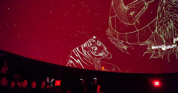 Neil deGrasse Tyson (lower left) visited Colgate's Ho Tung Visualization Lab.