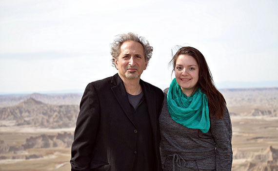 Colgate Professor Peter Balakian and Maggie Dunne '13 at the Pine Ridge Indian Reservation in South Dakota.