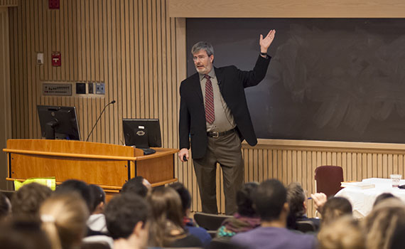 UCLA Law Professor Richard Sander discusses affirmative action in Love Auditorium March 26.