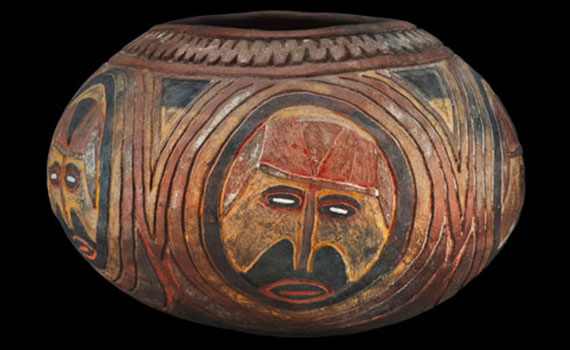 A Sepik pot decorated with ancestral faces now on display at the Longyear Museum of Anthropology.