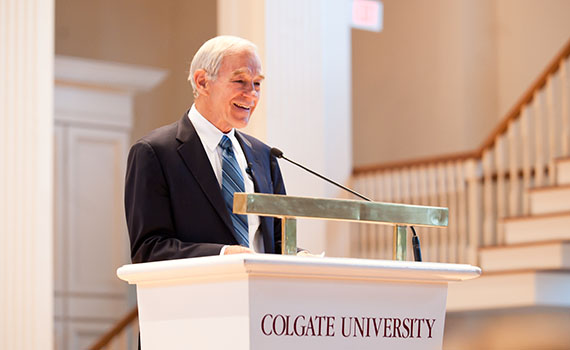 Ron Paul speaks to a full-house at the Colgate Memorial Chapel. (Photo by Janna Mineheart '13)