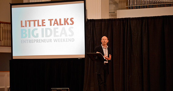Andy Greenfield '74 launches the Little Talks, Big Ideas series. (Photo by Andy Daddio)