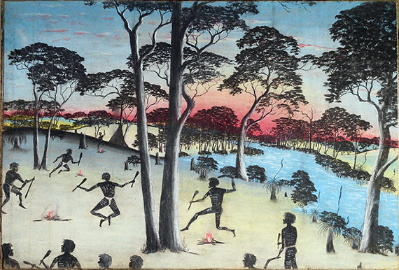 "This 1949 painting by Reynold Hart is called ""A Native Corroboree."" It is one of the 119 indigenous artworks going from Colgate to Curtin University in Western Australia."