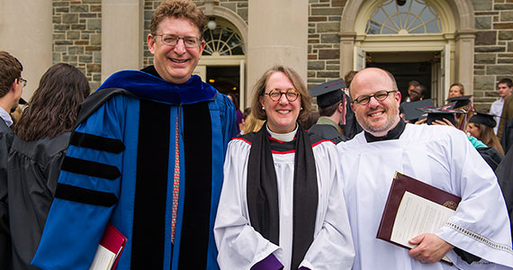 The Very Reverend Dr. Jane Shaw stands with Colgate President Jeffrey Herbst (left) and University Chaplain Mark Shiner. (Photo by Andy Daddio)