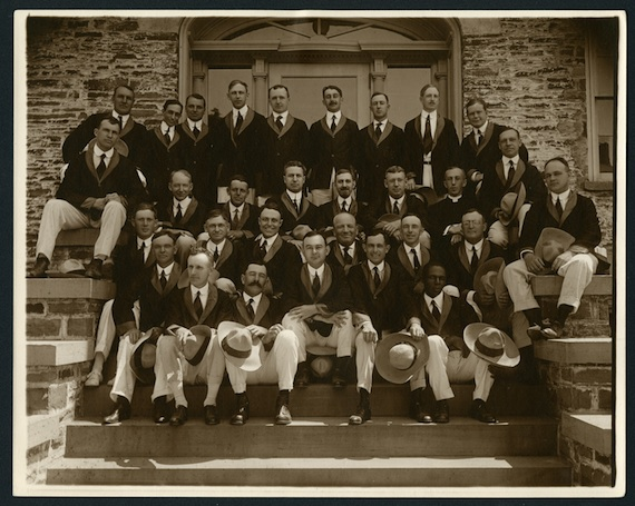 The class of 1905 celebrate in matching jackets