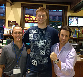 Grant Slater '91, Kevin Laue (subject of Long Shot), and Todd Slater (left to right) share a moment at the Hamilton International Film Festival.