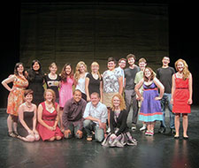 Masque & Triangle Pre-Orientation group on stage in the Brehmer Theatre
