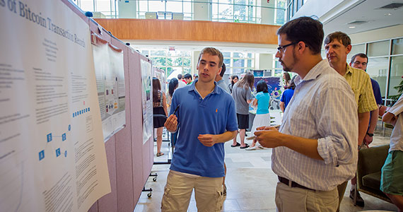 Michael McConville '16, of Hingham, Mass., studied Bitcoin protocols as part of his summer research project.