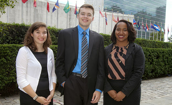 (Left to right) Elise Van Gelder '15, Sam Linnerooth '14, and Charity Whyte '16 at the United Nations in New York City.