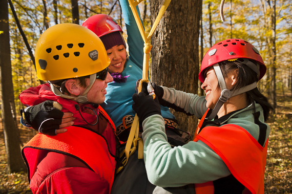 "Colgate students participate in a ""tree climbing for break"" class in the woods along the Darwin Thinking Path on the former ski hill on colgate campus. the class was run by Outdoor Education for students who remained on campus during the autumn break."