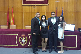 Thomas Cruz-Soto, Arlene Robles '15, Benjamin Rangel '15, and Gisselle Perez-Leon '15 (from left) pose for a photo in Madrid, Spain, at the World University Debate Championship in Spanish.