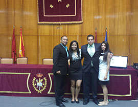 From left: Thomas Cruz-Soto, Arlene Robles '15, Benjamin Rangel '15, and Gisselle Perez-Leon '15, pose for a photo in Madrid, Spain, at the World University Debate Championship in Spanish.